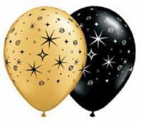 Gold, Black and White Star Balloons - (28cm/11 inches) - Set of 5
