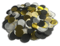 1/2 Cup Tissue Paper Confetti - Black, White and Gold Foil - 1 inch Circles