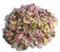 1/2 Cup Tissue Paper Confetti - Pink, White and Foil Gold - 1cm Circles