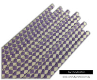 25 Paper Straws - Purple and White Diamonds - #PS17
