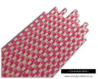 25 Paper Straws - Hot Pink Checkerboard - #PS19