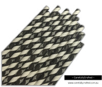 25 Paper Straws - Grey Diamonds on Black and White Stripe - #PS26