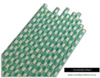 25 Paper Straws - Aqua Checkerboard - #PS27