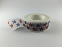 Washi Tape - Red and Blue Stars on White  #942