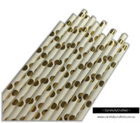 25 Paper Straws - Gold Foil Polka Dot - #PS35