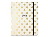 Kate Spade NY 2017 17 month Large agenda - Gold Polka Dots