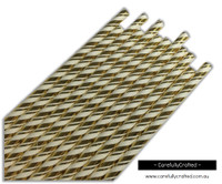 25 Paper Straws - Gold Foil Double Stripe - #PS40