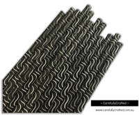 25 Paper Straws - Grey and White Swirls on Black - #PS44