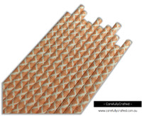 25 Paper Straws - Orange Demask - #PS48