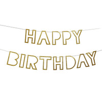 Meri Meri - Happy Birthday Gold Glitter Garland