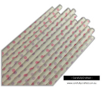 25 Paper Straws - Light Pink and Purple Polka Dots - #PS54