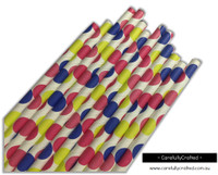 25 Paper Straws - Large Blue, Pink and Yellow Polka Dots - #PS55