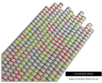 25 Paper Straws - Pink, Purple and Green Horizontal Stripes - #PS59