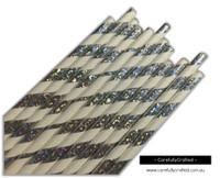 25 Paper Straws - Silver Glitter Foil - #PS64