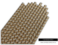 25 Paper Straws - Kraft Chevron - #PS67