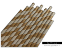25 Paper Straws - Kraft Stripe - #PS68