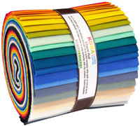 Robert Kaufman Fabric Precuts - Jelly Roll - Kona Cotton - 5 Inch Roll - Designer Make it Simpler
