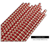 25 Paper Straws - Red Diamonds - #PS73