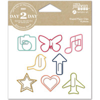 Day 2 Day Planner Shaped Clips - Set of 8 - Camera, Butterfly, Heart, Star & More