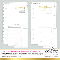 Color Crush - Websters Pages - Personal 2017 12 Month Week & Month Calendar