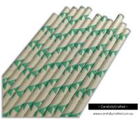 25 Paper Straws - Aqua Bunting - #PS81