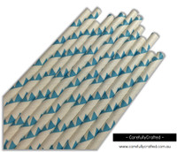 25 Paper Straws - Blue Bunting - #PS87