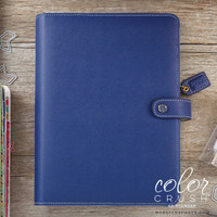 "Color Crush A5 Faux Leather Planner Kit 7.5 ""x 10"" - Navy"