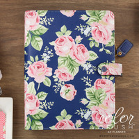 "Color Crush A5 Faux Leather Planner Kit 7.5 ""x 10"" - Navy Floral"
