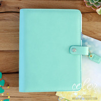 "Color Crush A5 Faux Leather Planner Kit 7.5 ""x 10"" - Mint"