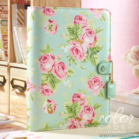 "Color Crush A5 Faux Leather Planner 7.5 ""x 10"" - Mint Floral - Binder Only"