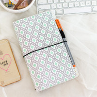 Freckled Fawn - PocketStyle Traveler's Notebook | Mint Diamond Geometric