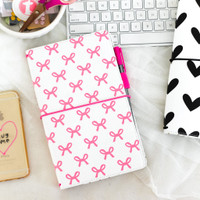 Freckled Fawn - PocketStyle Traveler's Notebook - Pink Bows