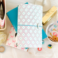 Freckled Fawn - Sleek Traveler's Notebook - Mint Diamond Geometric