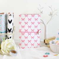 Freckled Fawn - Sleek Traveler's Notebook - Pink Bows