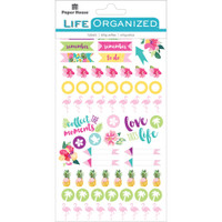 Paper House Life Organized Planner Stickers - Embrace Today - Flamingo, Sun, Pineapple, Palm Trees