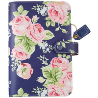 "Color Crush Faux Leather Personal Planner Binder 5.25"" X 8"" - Navy Floral - Binder Only"