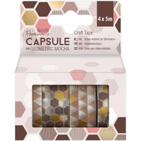 Papermania Geometric Mocha Washi Tape - Set of 4
