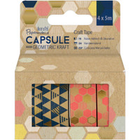 Papermania Geometric Kraft Washi Tape - Set of 4