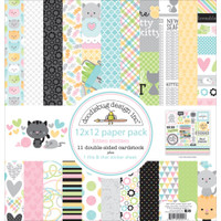 "Doodlebug Double-Sided Paper Pack 12""X12"" - Kitten Smitten"