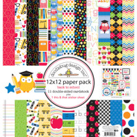 "Doodlebug Double-Sided Paper Pack 12"" x 12"" - School"