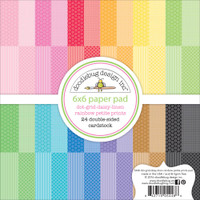"Doodlebug Petite Prints Double-Sided Paper Pad 6"" x 6"" - Dot/Grid, Daisy/Stripe"