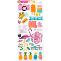 American Crafts - Amy Tangerine - On a Whim - Cardstock Stickers with Foil Accents - Accents and Phrases