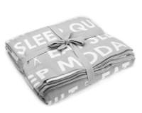 Moda Fabric - Eat Sleep Quilt Throw - Grey and White