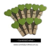 Mini Wooden Heart Pegs - Set of 10 - Green