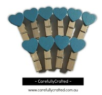 Mini Wooden Heart Pegs - Set of 10 - Blue