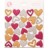 Freckled Fawn - Chipboard Stickers - Glittered Hearts
