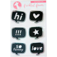 Freckled Fawn - Decorative Metal Paper Clips - Flat Speech Bubbles, Black
