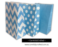 Standing Up Paper Bags - Chevron, Polka Dot, Plain - Blue