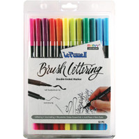 Le Plume II Double-Ended Brush Lettering Marker - Set of 12 - Bright