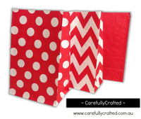 Standing Up Paper Bags - Chevron, Polka Dot, Plain - Red